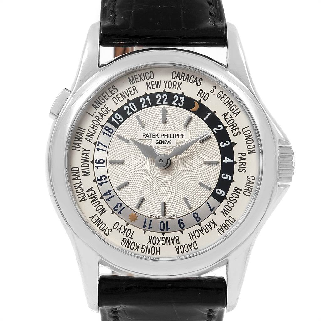 21729 Patek Philippe World Time Complications White Gold Mens Watch 5110 SwissWatchExpo