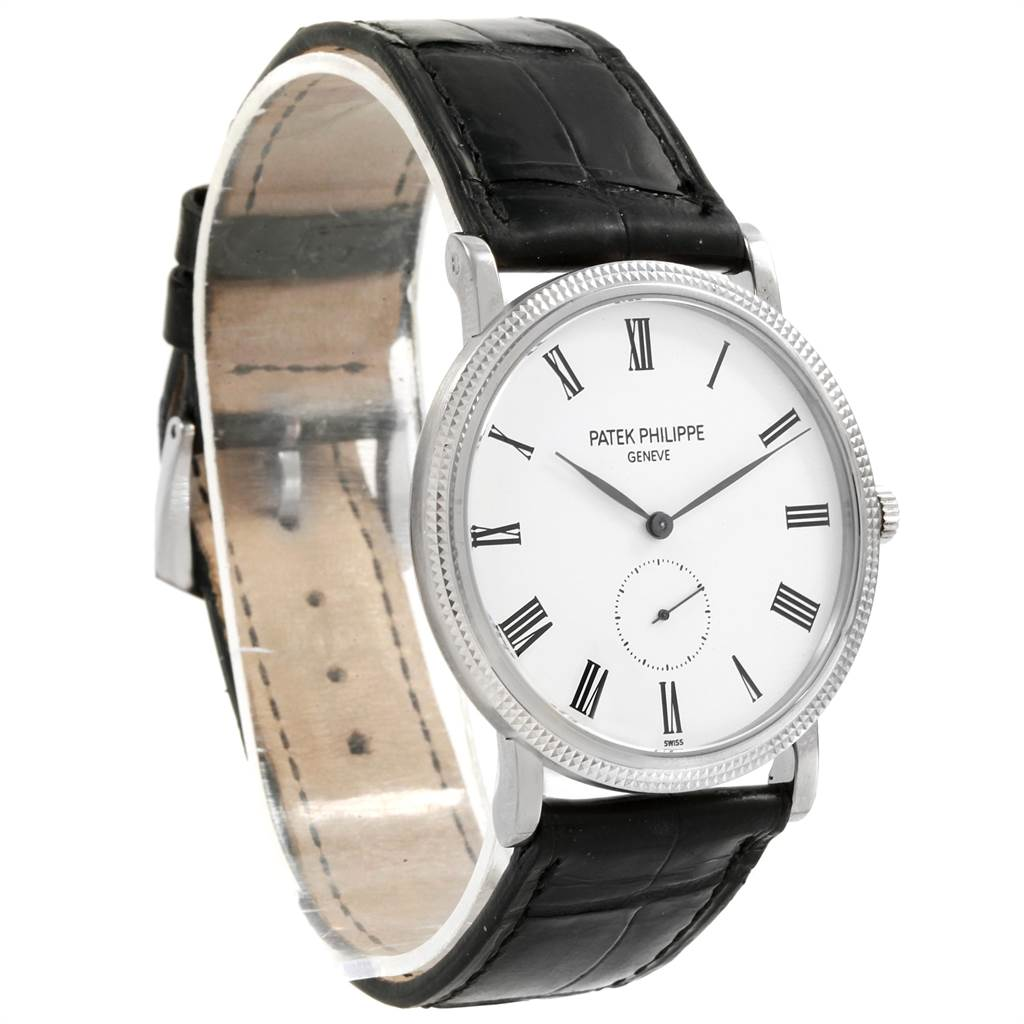 21593 Patek Philippe Calatrava 18k White Gold Automatic Mens Watch 5119 SwissWatchExpo