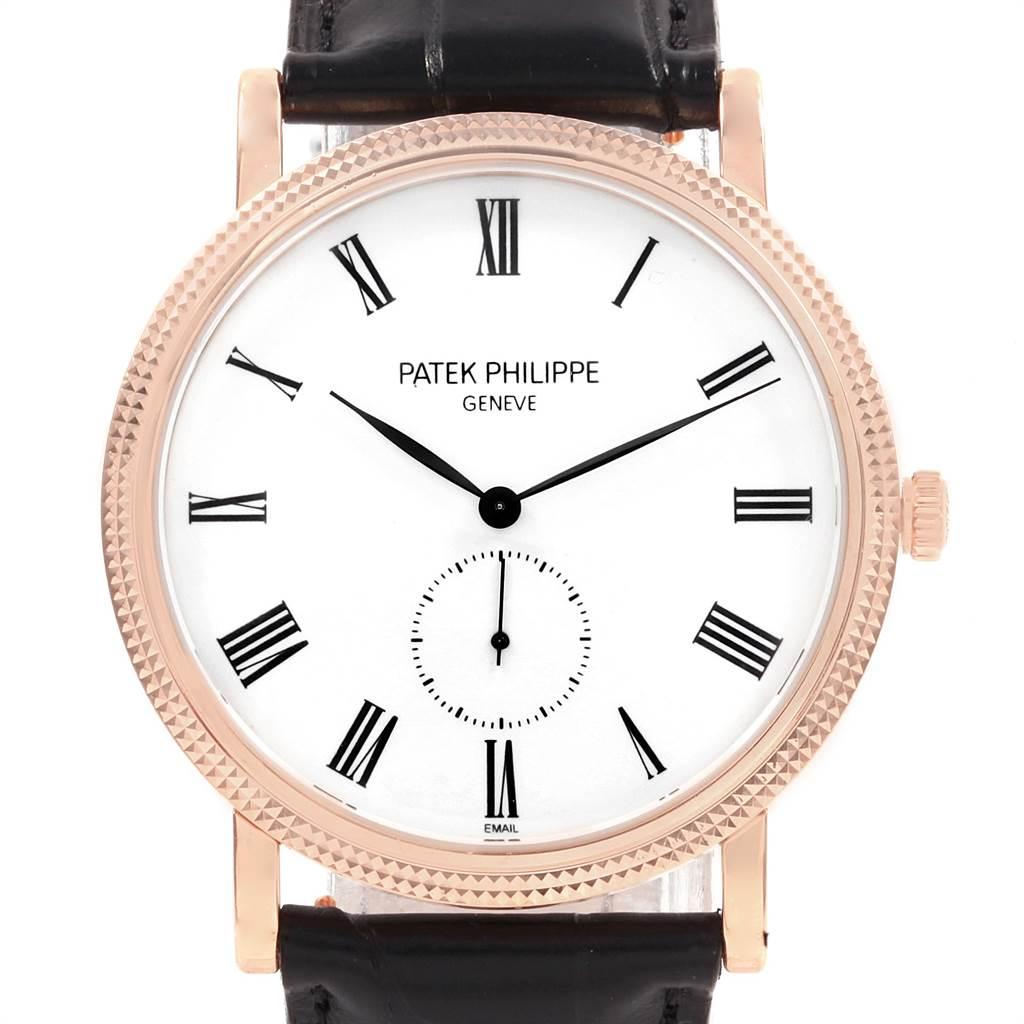 21592 Patek Philippe Calatrava Rose Gold Enamel Dial Mens Watch 5116 SwissWatchExpo