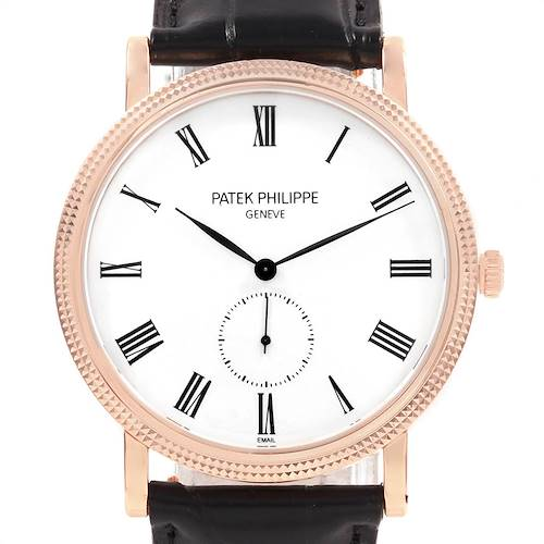 Photo of Patek Philippe Calatrava Rose Gold Enamel Dial Mens Watch 5116