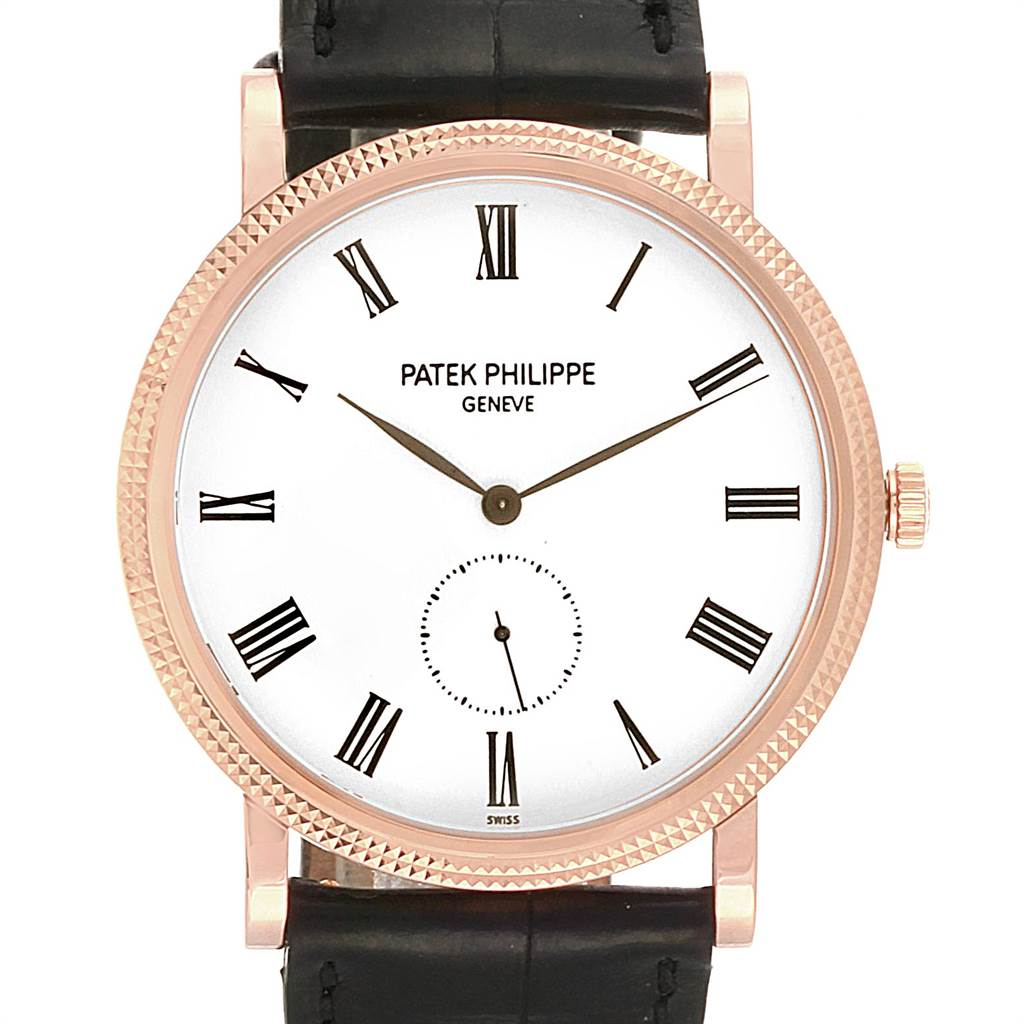 Patek Philippe Calatrava Rose Gold White Enamel Dial Mens Watch 5119 SwissWatchExpo