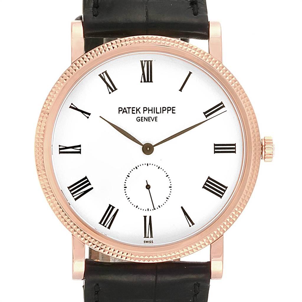 22058 Patek Philippe Calatrava Rose Gold White Enamel Dial Mens Watch 5119 SwissWatchExpo