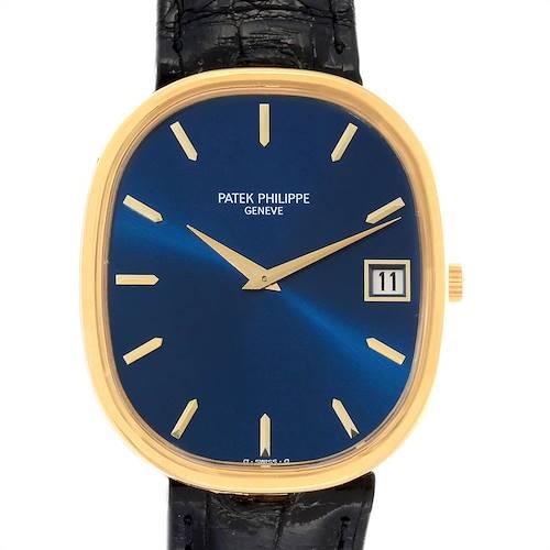 Photo of Patek Philippe Golden Ellipse Jumbo Yellow Gold Blue Dial Mens Watch 3605