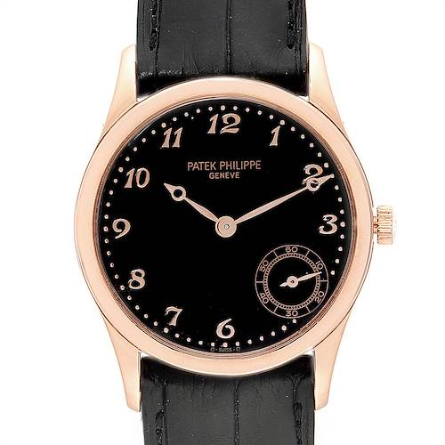 Photo of Patek Philippe Calatrava Rose Gold Black Dial Automatic Watch 5026R