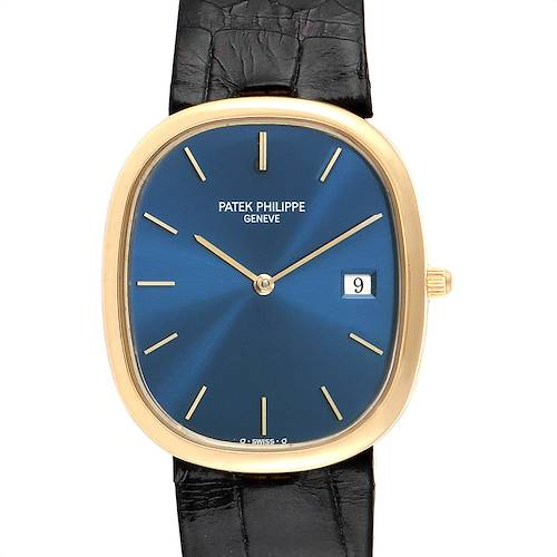 Photo of Patek Philippe Golden Ellipse Yellow Gold Blue Dial Mens Watch 3747