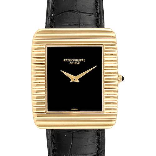 Patek Philippe Yellow Gold Black Dial Vintage Mens Watch 3633