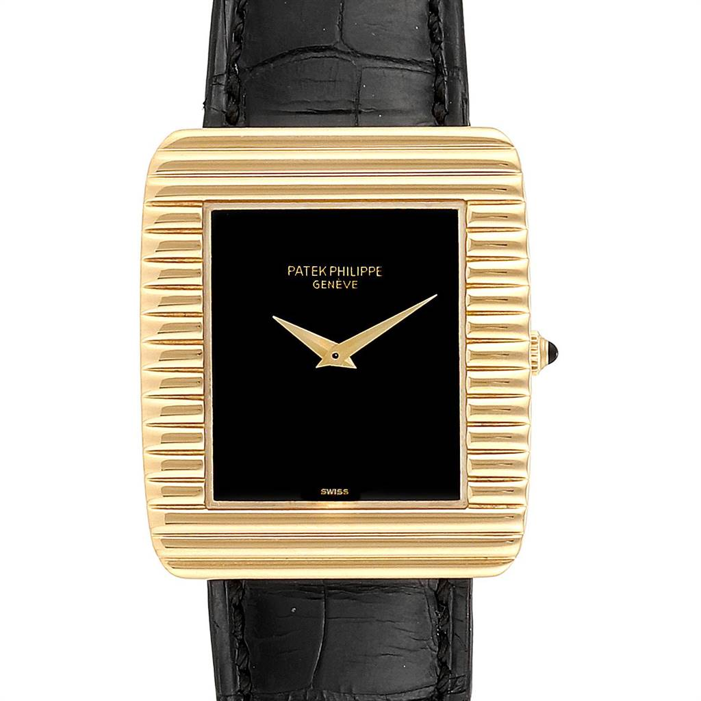 Patek Philippe Yellow Gold Black Dial Vintage Mens Watch 3633 SwissWatchExpo