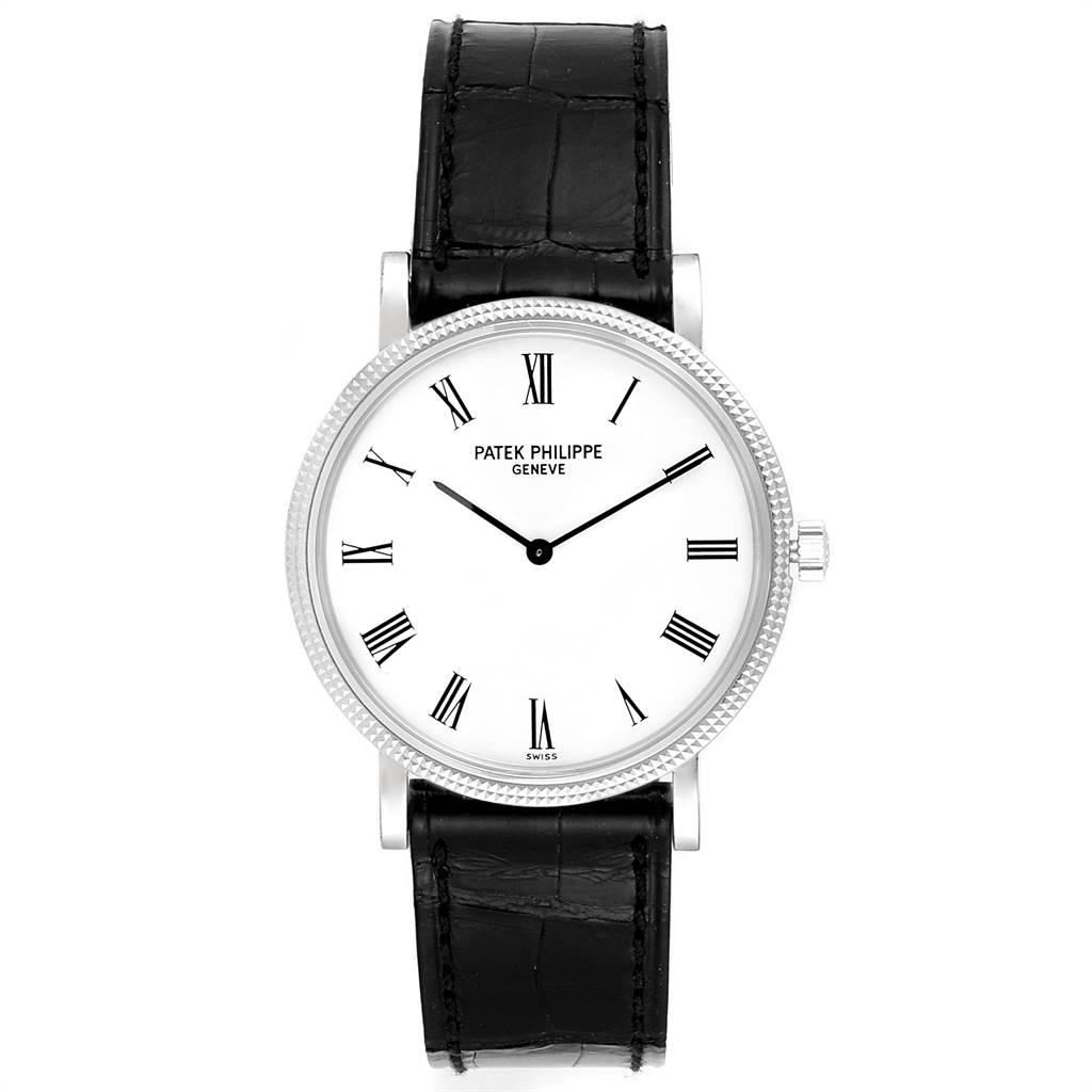 24646 Patek Philippe Calatrava White Gold Automatic Mens Watch 5120 Box Papers SwissWatchExpo