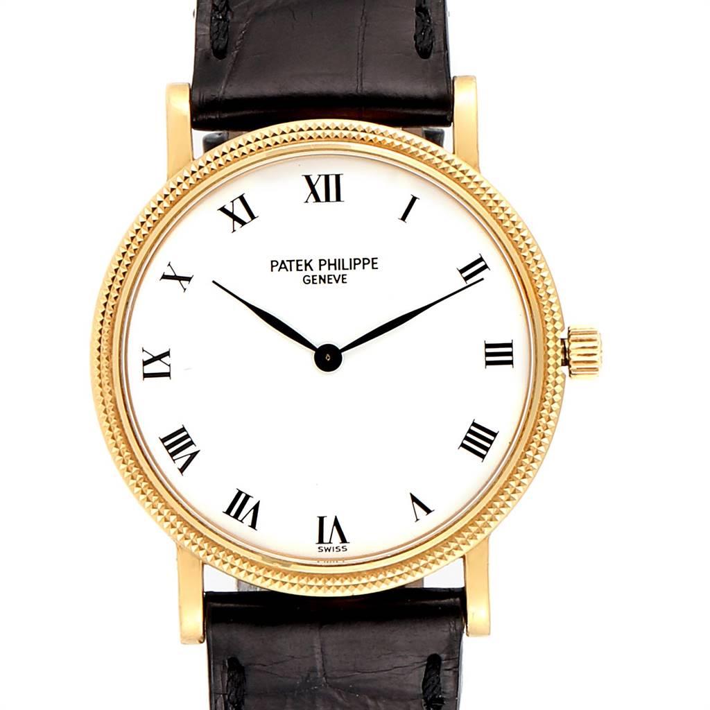 24421 Patek Philippe Calatrava 18K Yellow Gold Automatic Mens Watch 3992 SwissWatchExpo
