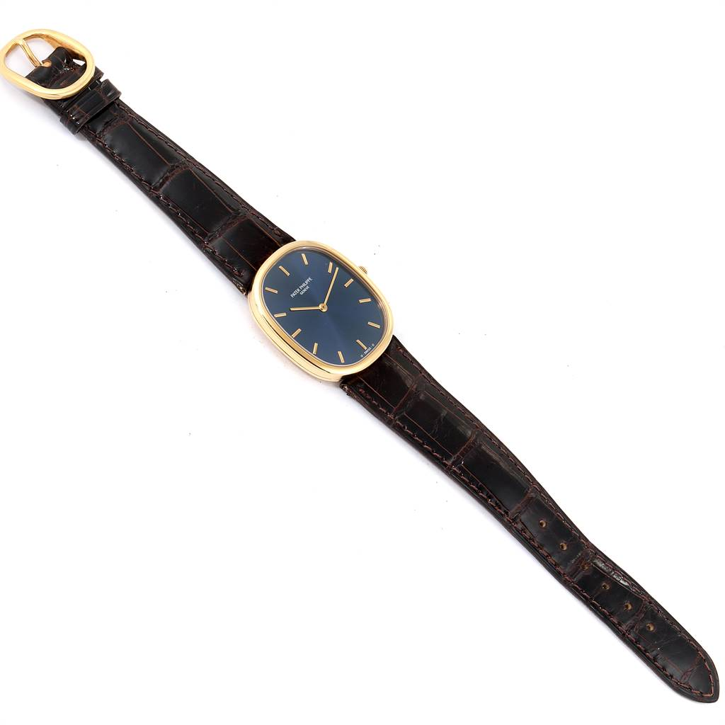 Patek Philippe Golden Ellipse Yellow Gold Blue Dial Watch 3738 Papers SwissWatchExpo