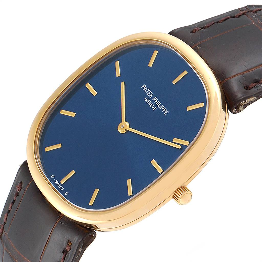 24553 Patek Philippe Golden Ellipse Yellow Gold Blue Dial Watch 3738 Papers SwissWatchExpo