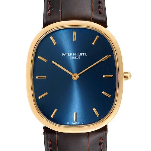 Photo of Patek Philippe Golden Ellipse Yellow Gold Blue Dial Watch 3738 Papers