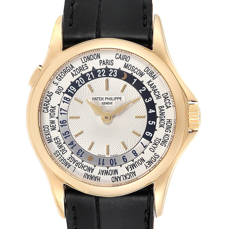 Patek Philippe World Time Complications Yellow Gold Mens Watch 5110 SwissWatchExpo