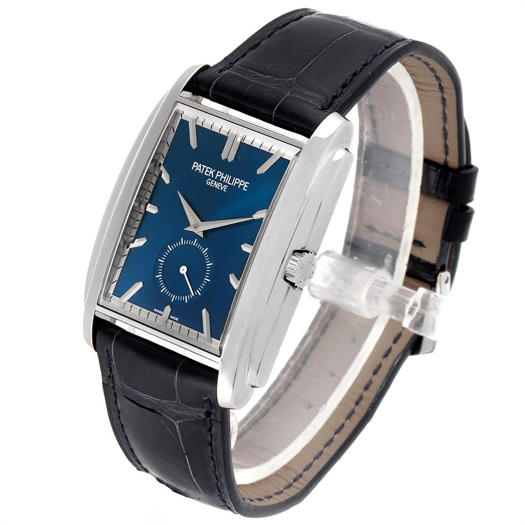 Patek Philippe Gondolo Small Seconds White Gold Blue Dial Mens Watch 5124 SwissWatchExpo