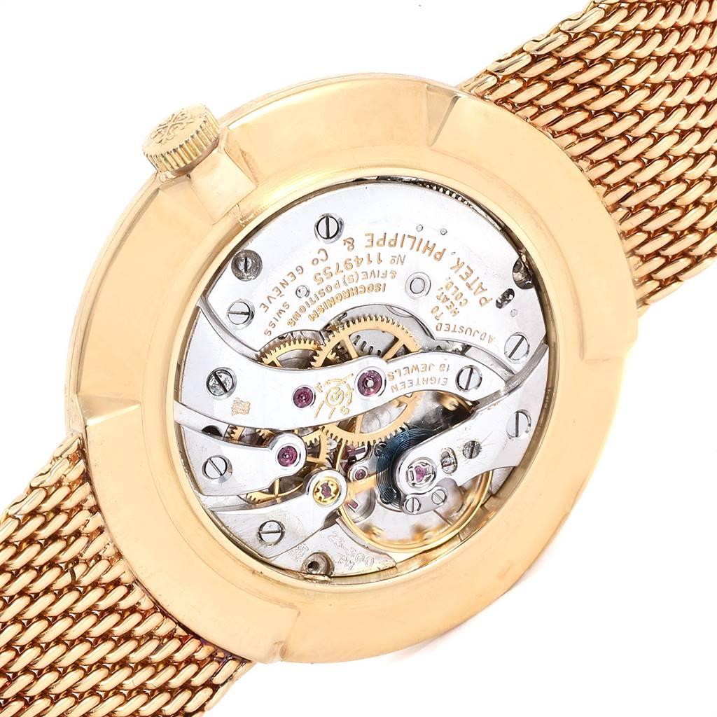 Patek Philippe Calatrava Yellow Gold Mesh Bracelet Mens Watch 3562 SwissWatchExpo