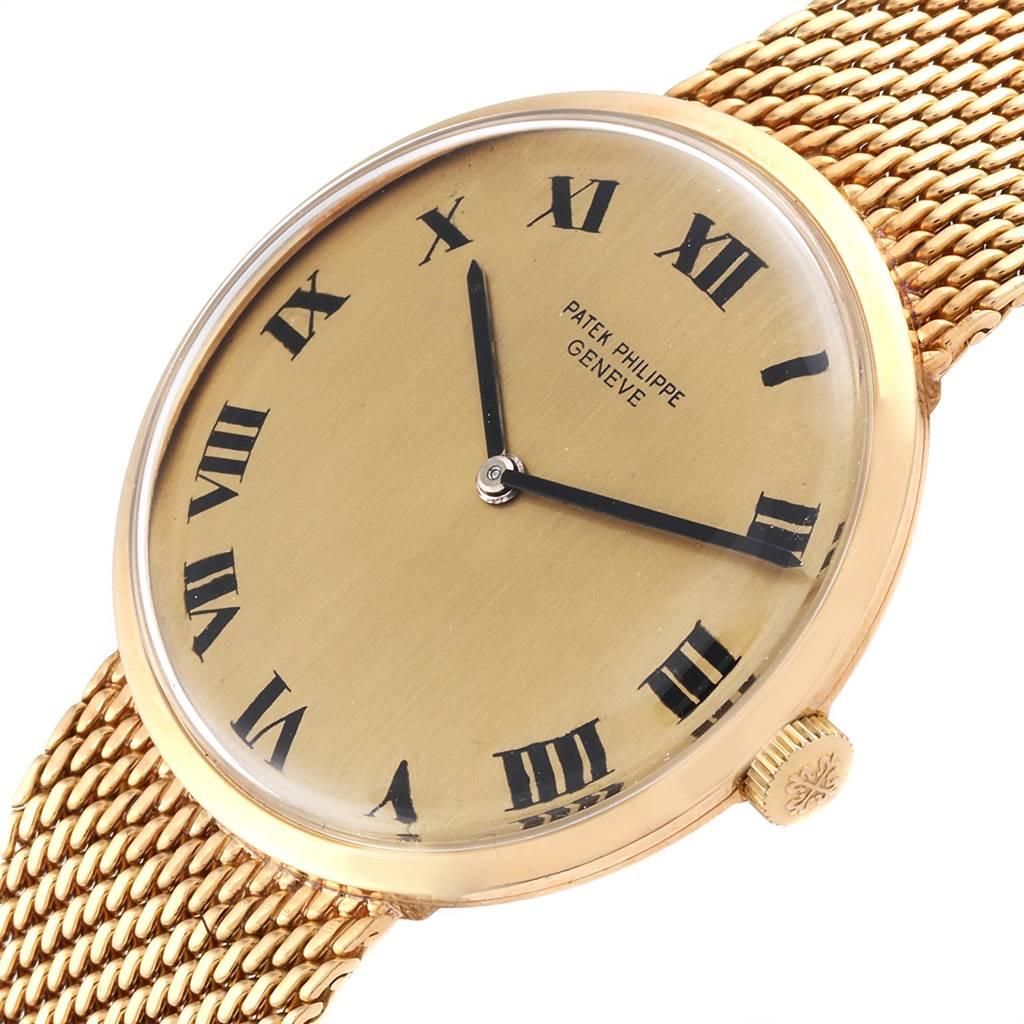 11239 Patek Philippe Calatrava Yellow Gold Mesh Bracelet Mens Watch 3562 SwissWatchExpo