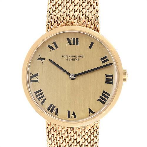 Photo of Patek Philippe Calatrava Yellow Gold Mesh Bracelet Mens Watch 3562