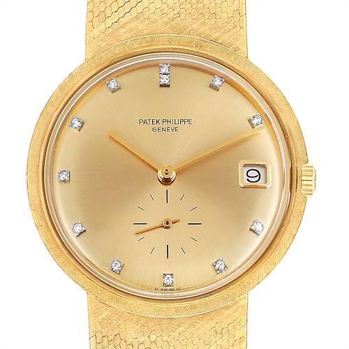 Photo of Patek Philippe Calatrava Yellow Gold Diamond Vintage Mens Watch 3445