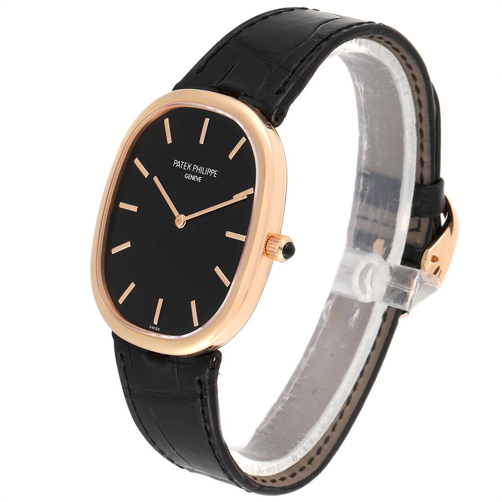 Patek Philippe Golden Ellipse Grande Taille Rose Gold Black Dial Watch 5738 SwissWatchExpo