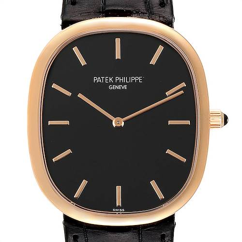 Photo of Patek Philippe Golden Ellipse Grande Taille Rose Gold Black Dial Watch 5738
