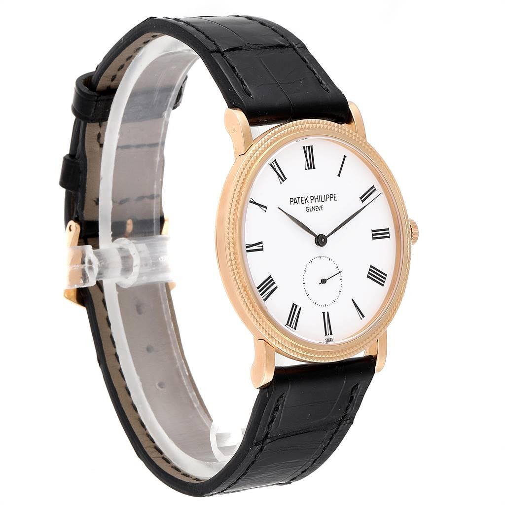 Patek Philippe Calatrava Rose Gold White Enamel Dial Mens Watch 5119 SwissWatchExpo