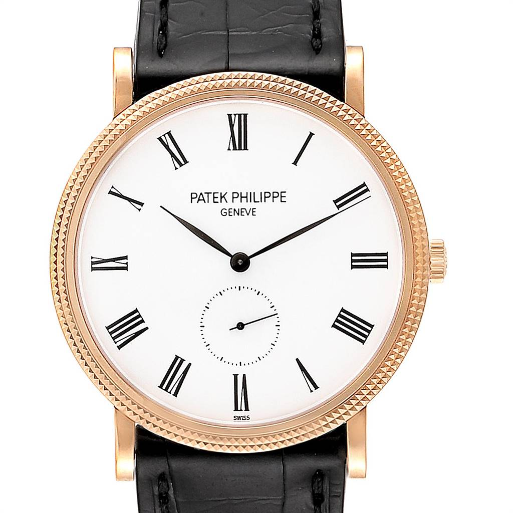 Photo of Patek Philippe Calatrava Rose Gold White Enamel Dial Mens Watch 5119