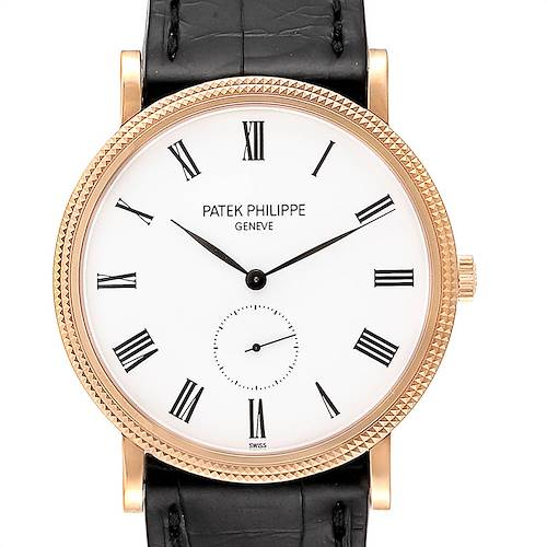 Photo of Patek Philippe Calatrava Rose Gold White Enamel Dial Mens Watch 5119