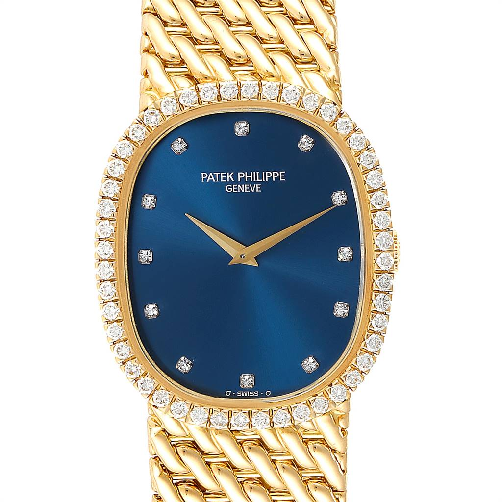 Patek Philippe Golden Ellipse Blue Dial Yellow Gold Diamond Watch 3748
