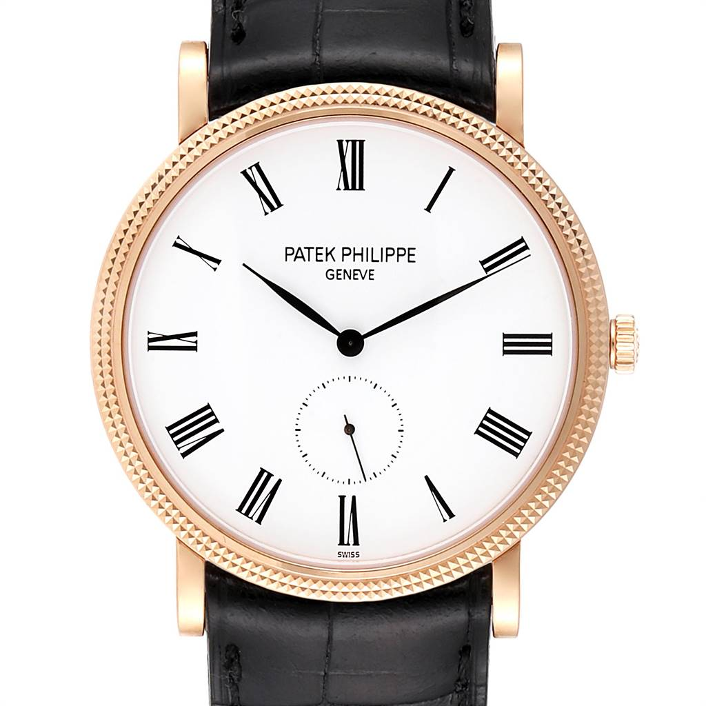 Patek Philippe Calatrava Rose Gold White Enamel Dial Mens Watch 5119