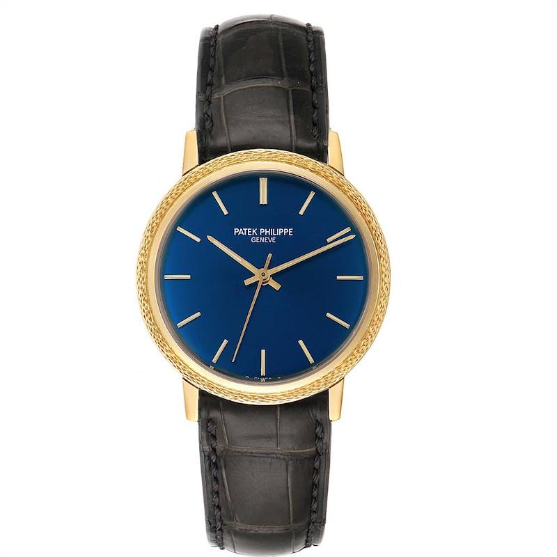 Patek Philippe Calatrava Yellow Gold Blue Dial Vintage Mens Watch 3569 SwissWatchExpo