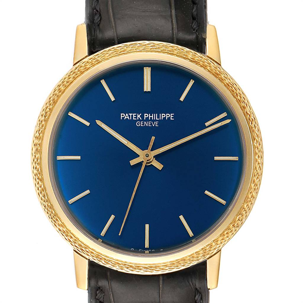 Patek Philippe Calatrava Yellow Gold Blue Dial Vintage Mens Watch 3569