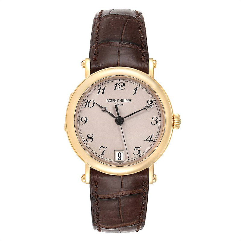 Patek Philippe Calatrava Officier Yellow Gold Mens Watch 5053 Papers SwissWatchExpo