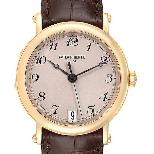 Photo of Patek Philippe Calatrava Officier Yellow Gold Mens Watch 5053 Papers