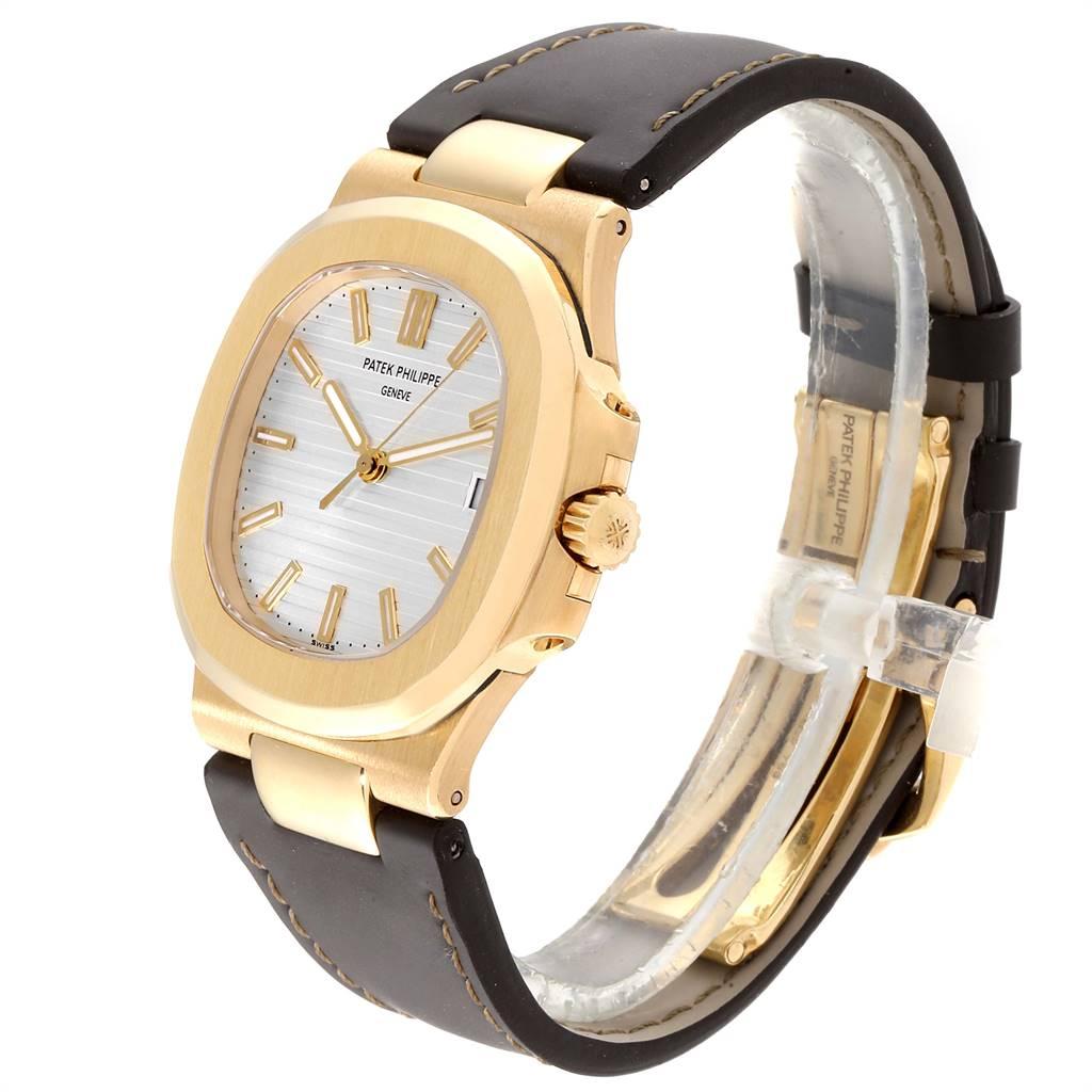 Patek Philippe Nautilus 18K Yellow Gold Brown Strap Mens Watch 5711 SwissWatchExpo