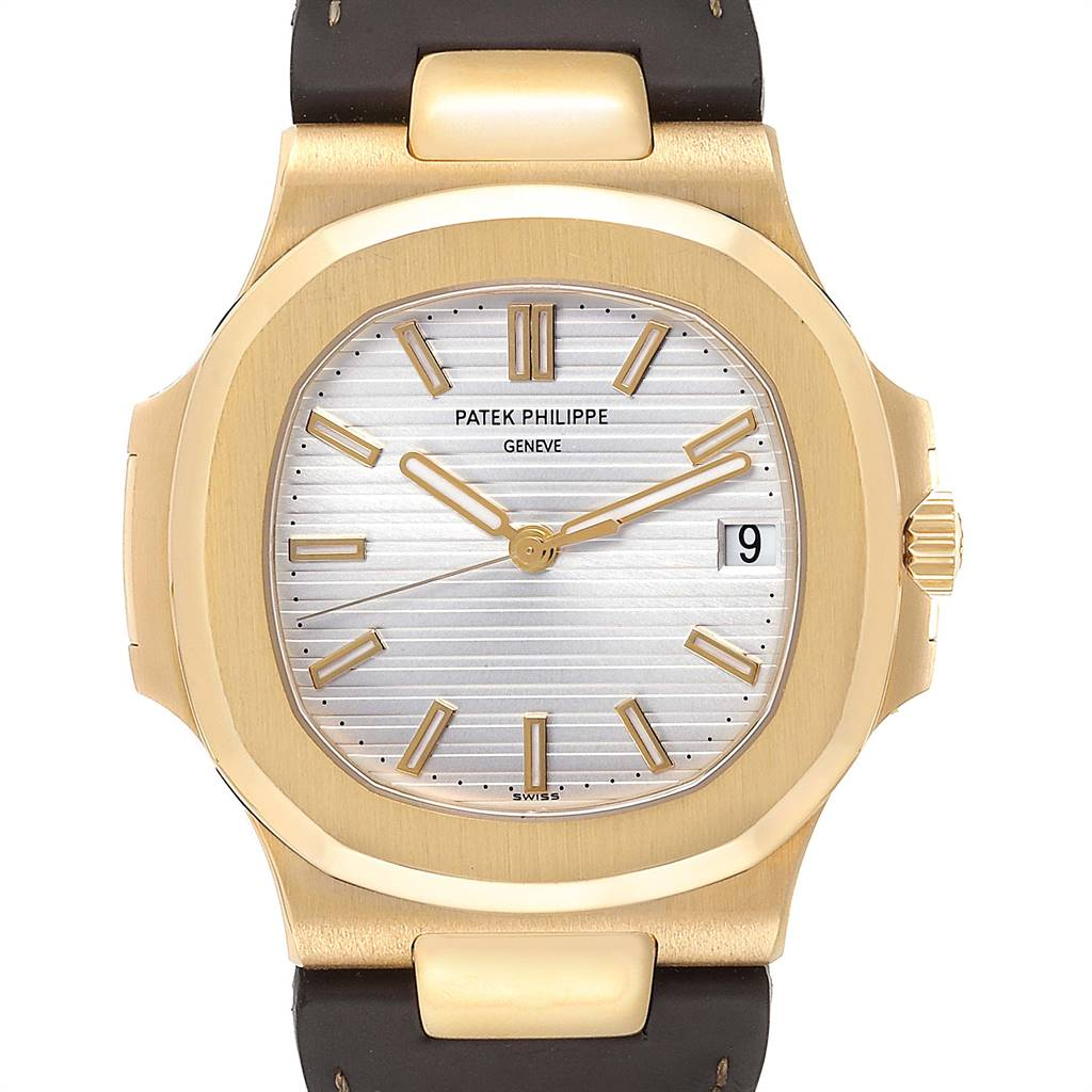Patek Philippe Nautilus 18K Yellow Gold Brown Strap Mens Watch 5711