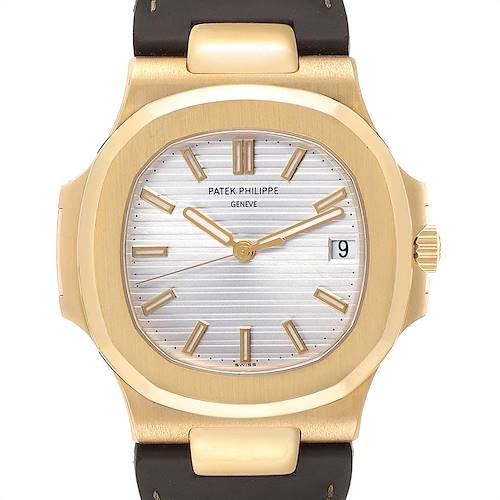 Photo of Patek Philippe Nautilus 18K Yellow Gold Brown Strap Mens Watch 5711