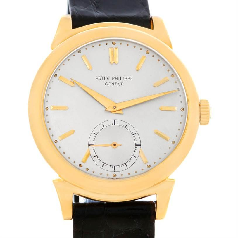 Patek Philippe Calatrava Vintage 18k Yellow Gold Scroll Lugs Watch 1491 SwissWatchExpo
