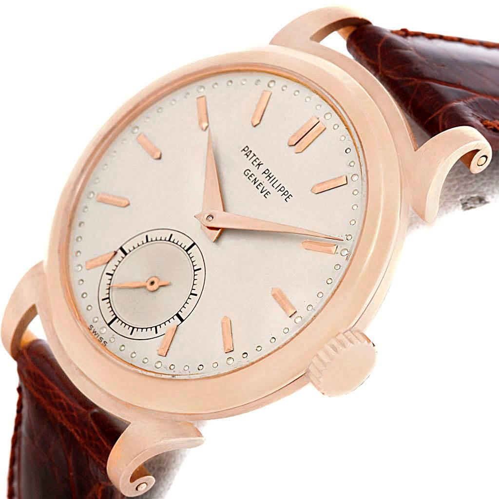 6057 Patek Philippe Calatrava Vintage 18k Rose Gold Mens Watch 1491  SwissWatchExpo