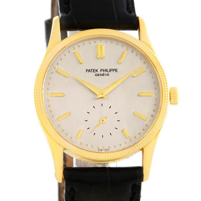 6125 Patek Philippe Calatrava 18k Yellow Gold Hobnail Bezel Watch 3796 SwissWatchExpo