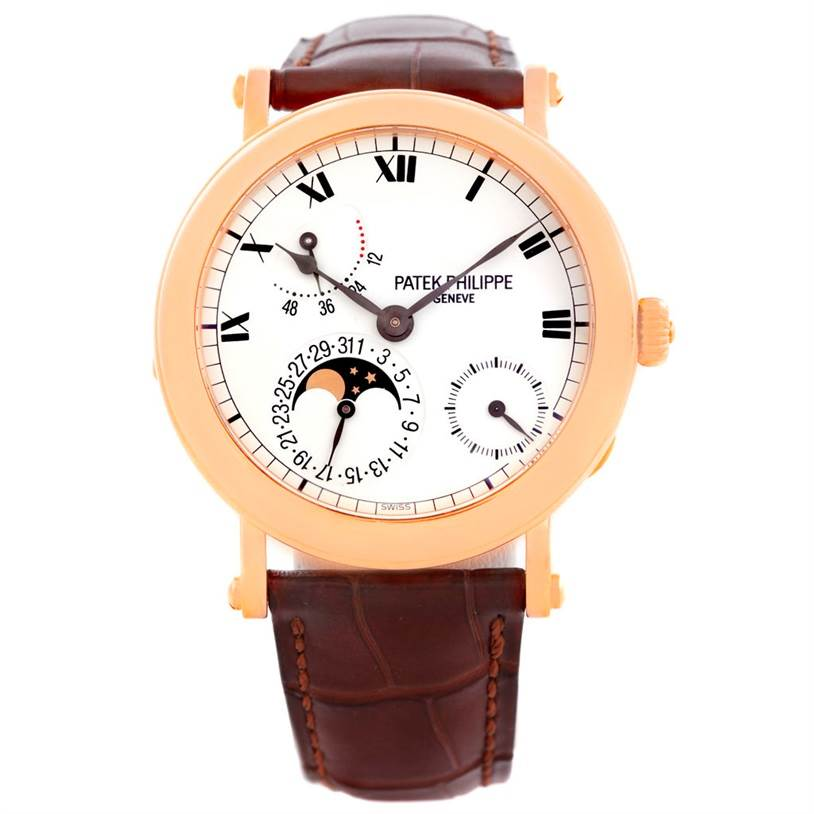 6352 Patek Philippe Power Reserve Moonphase Rose Gold Watch 5054 Papers SwissWatchExpo