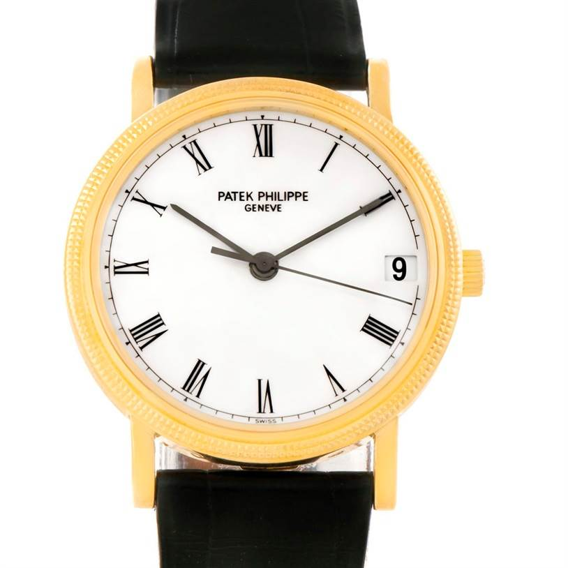 7782 Patek Philippe Calatrava 18k Yellow Gold Black Strap Watch 3802 SwissWatchExpo