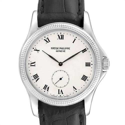 Patek Philippe Calatrava Hobnail Bezel White Gold Mens Watch 5115 Papers