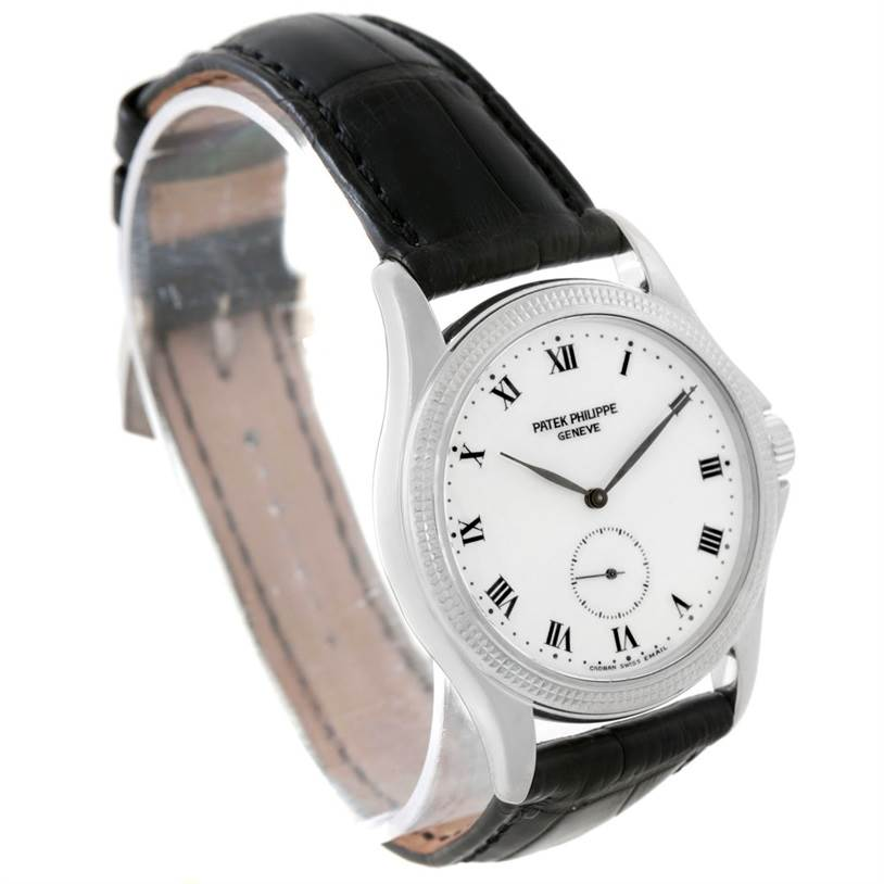 7697 Patek Philippe Calatrava White Gold Hobnail Bezel Mens Watch 5115 Papers SwissWatchExpo
