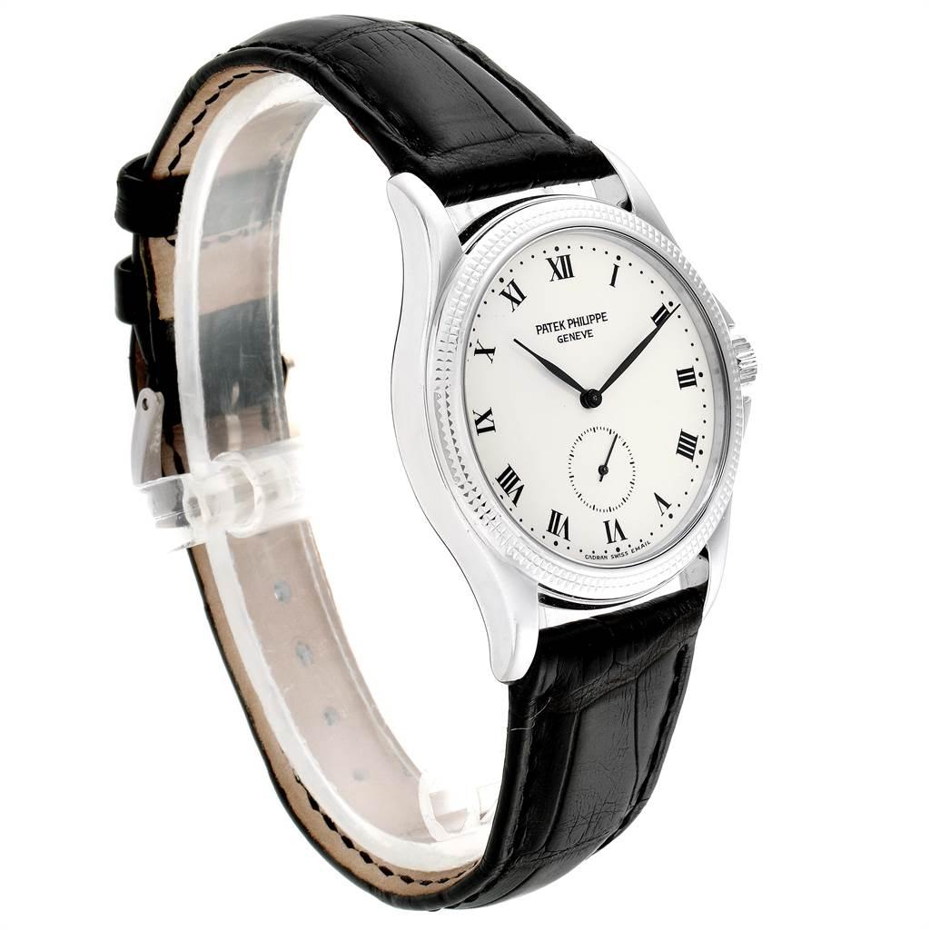 7697 Patek Philippe Calatrava White Gold Hobnail Bezel Mens Watch 5115 Papers SwissWatchExpo