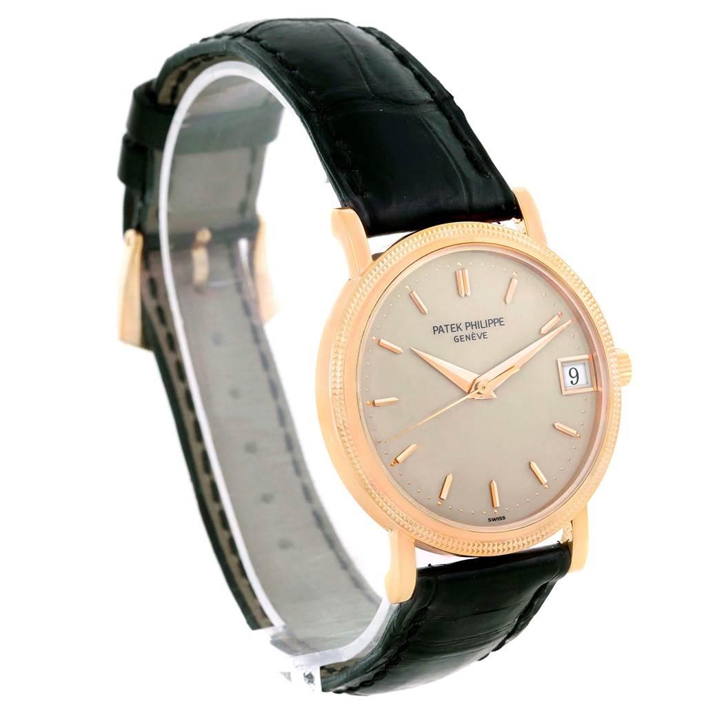 Patek Philippe Calatrava 18k Rose Gold Hobnail Bezel Watch 3802R Papers SwissWatchExpo