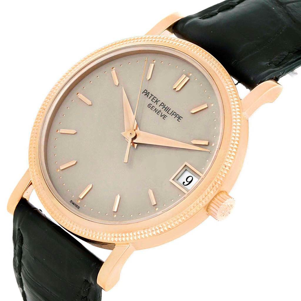 9721 Patek Philippe Calatrava 18k Rose Gold Hobnail Bezel Watch 3802R Papers SwissWatchExpo