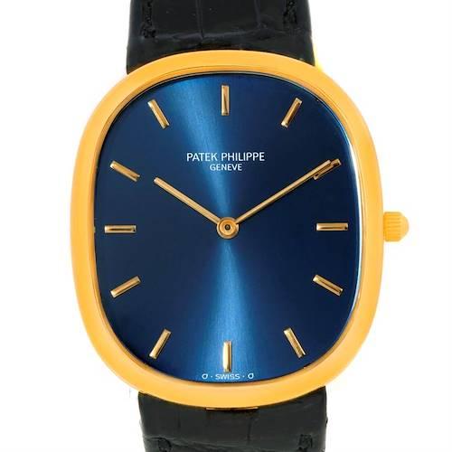 Photo of Patek Philippe Golden Ellipse 18k Yellow Gold Blue Dial Watch 3738