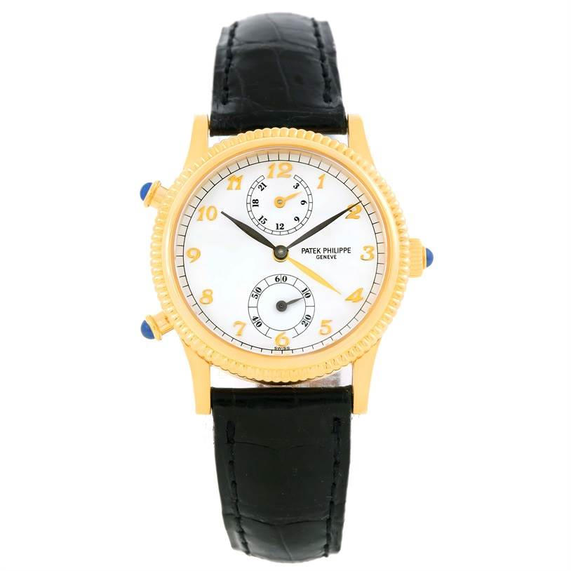 10170 Patek Philippe Calatrava Travel Time Yellow Gold Ladies Watch 4864J Papers SwissWatchExpo
