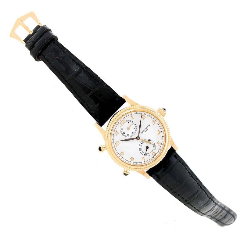 Patek Philippe Calatrava Travel Time Yellow Gold Ladies Watch 4864J Papers SwissWatchExpo