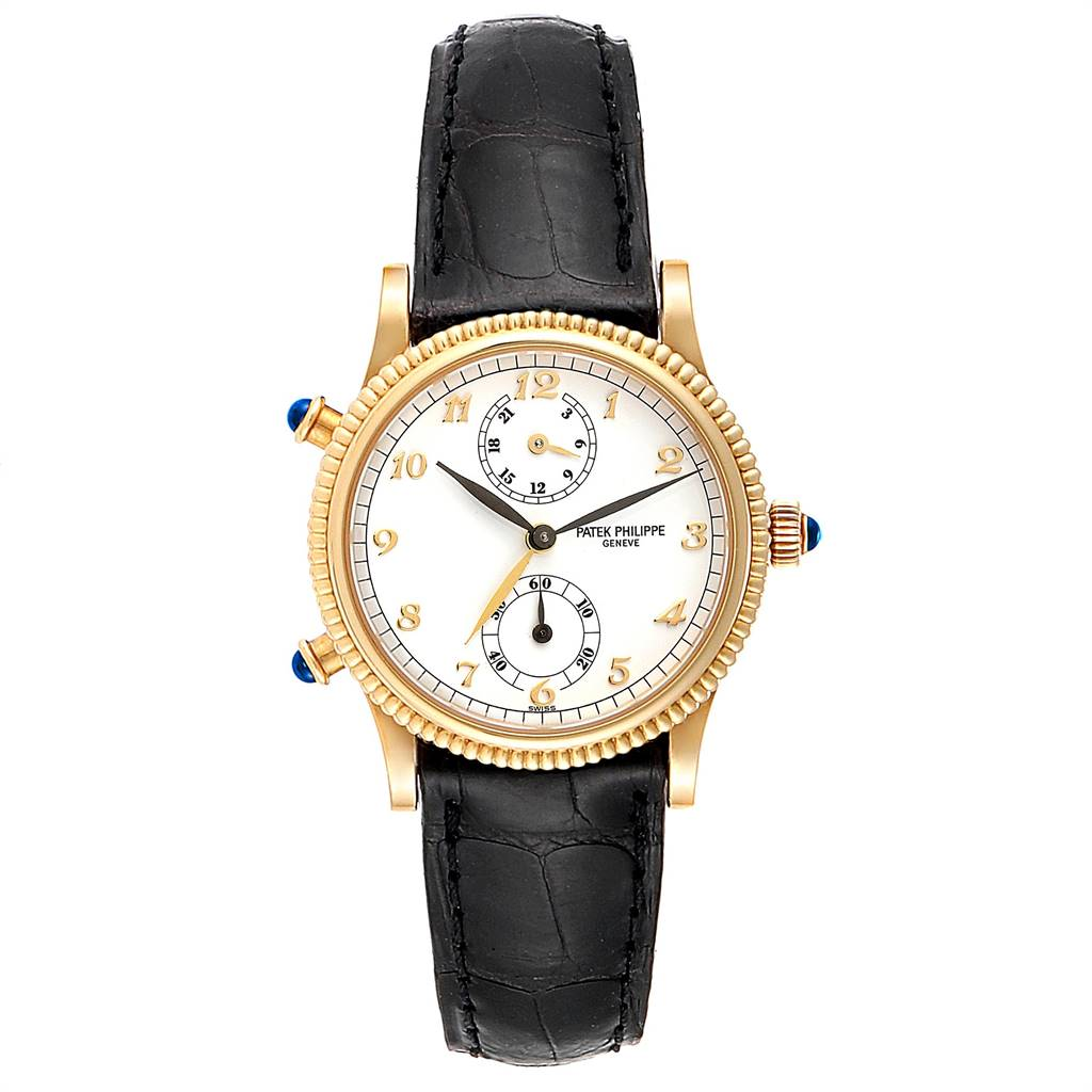 Patek Philippe Calatrava Travel Time Yellow Gold Ladies Watch 4864J Papers SwissWatchExpo